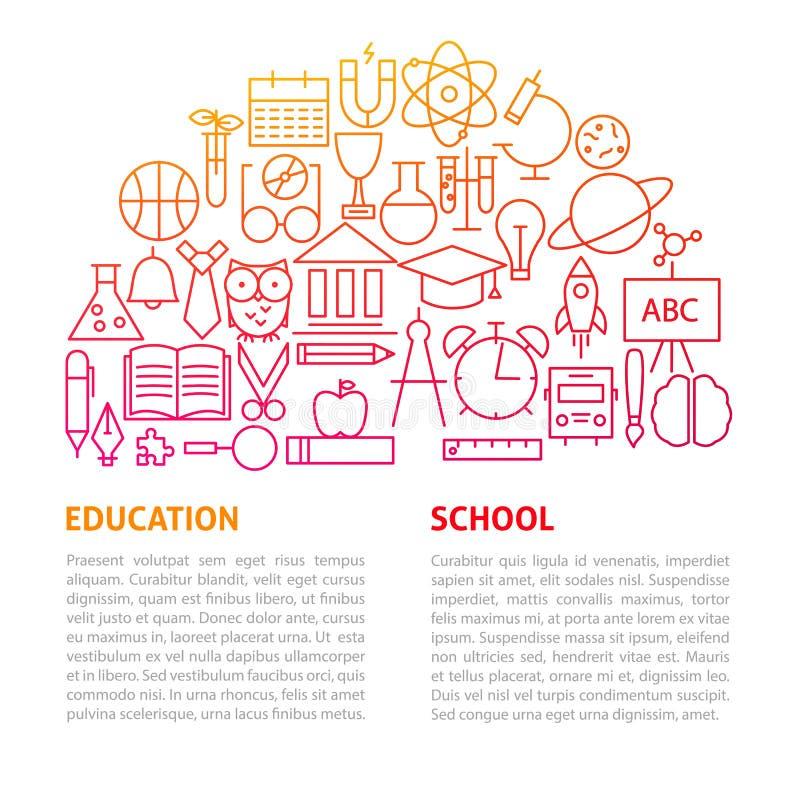 De Lijnmalplaatje van het schoolonderwijs royalty-vrije illustratie
