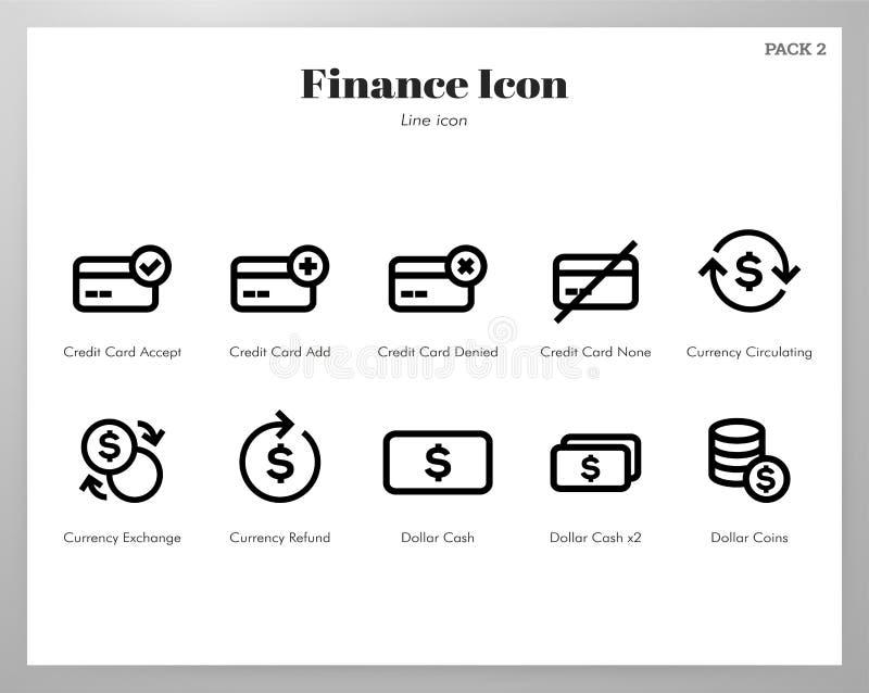 De Lijnpak van financiënpictogrammen vector illustratie