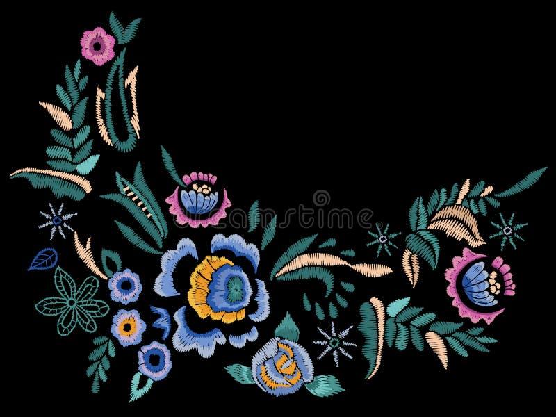De lijnpatroon van de borduurwerk volkshals met blauwe rozen vector illustratie
