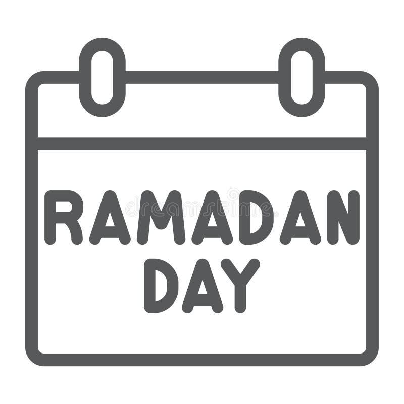 De lijnpictogram, datum en islam van de Ramadankalender, ramadam dagteken, vectorafbeeldingen, een lineair patroon op een witte a stock illustratie