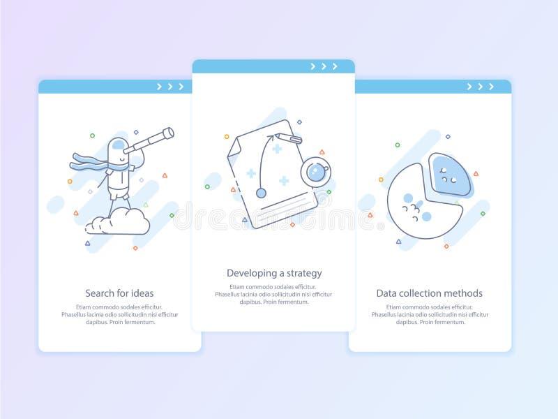 De Lijnpictogram en Concept Vastgestelde Onboarding van de premiekwaliteit: Zoek naar ideeën, die een strategie, Gegevensverzamel royalty-vrije illustratie