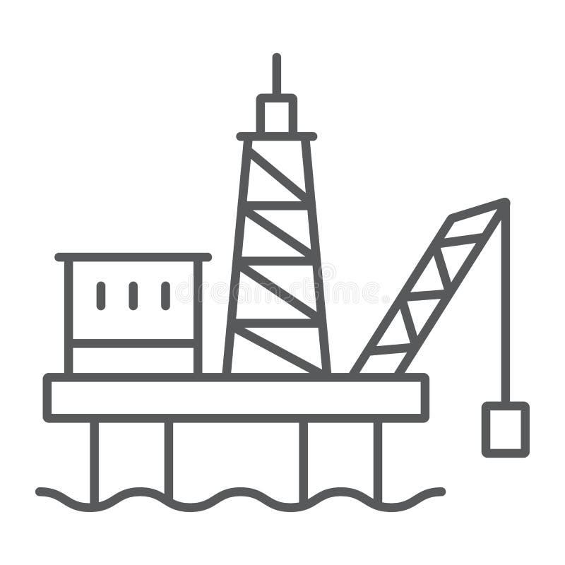 De lijnpictogram, industrieel en boortoren van het olieplatform dun, booreilandteken, vectorafbeeldingen, een lineair patroon op  vector illustratie