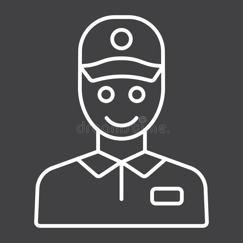 De lijnpictogram, logistisch en levering van de leveringsmens vector illustratie