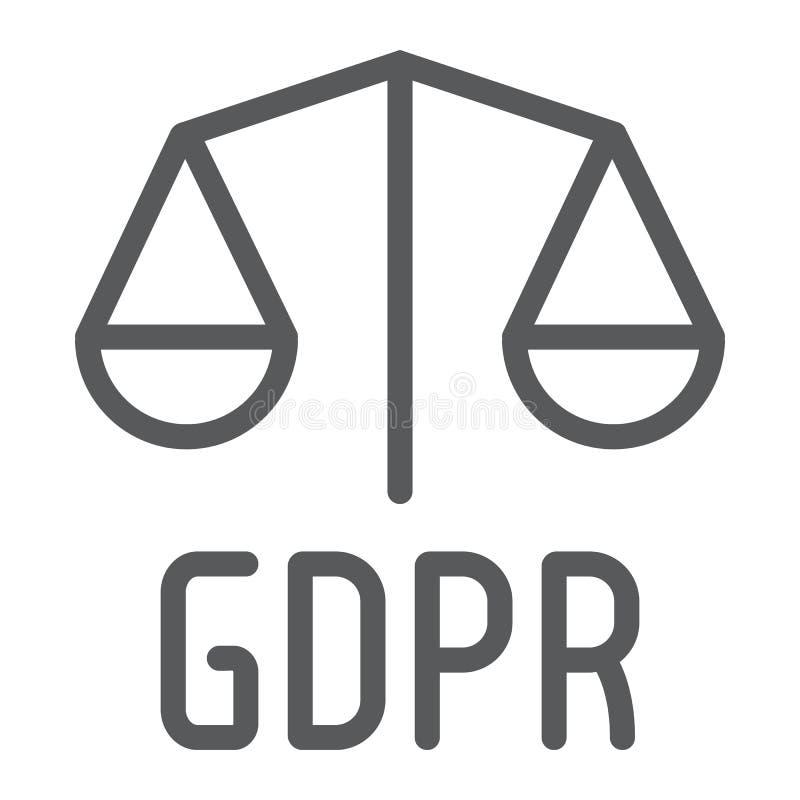 De lijnpictogram, privacy en veiligheid van Gdprlibra, gdpr wettigheidsteken, vectorafbeeldingen, een lineair patroon op een witt royalty-vrije illustratie