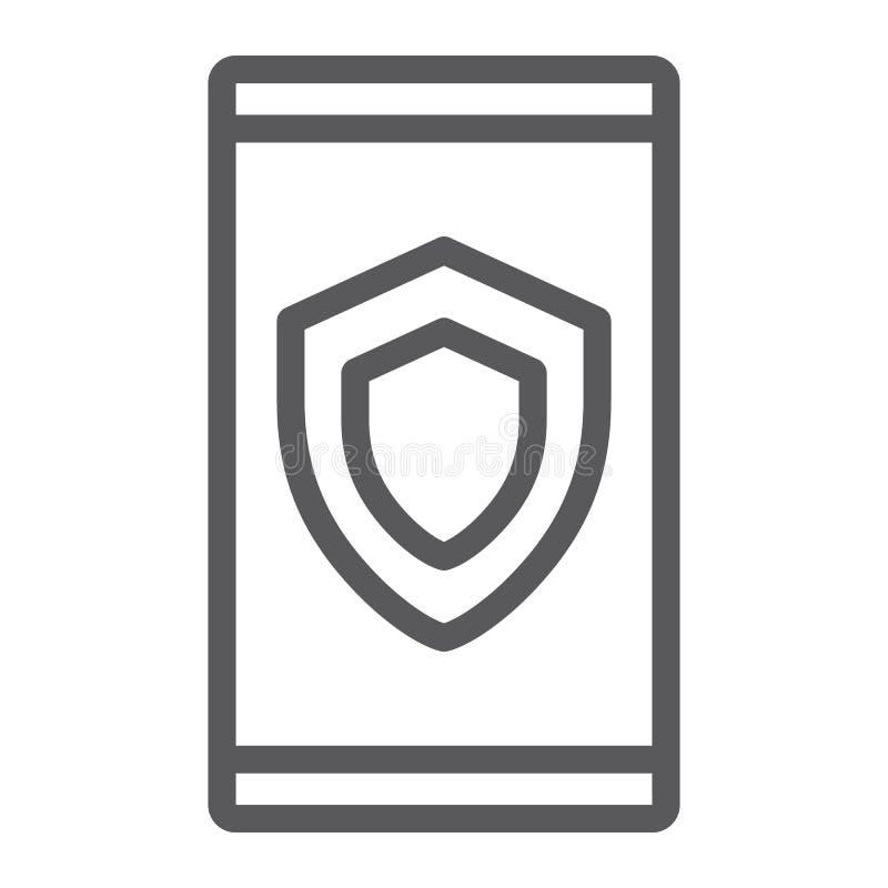 De lijnpictogram van de apparatenveiligheid, gegevens en bescherming, veiligheidsteken, vectorgrafiek, een lineair patroon op een royalty-vrije illustratie