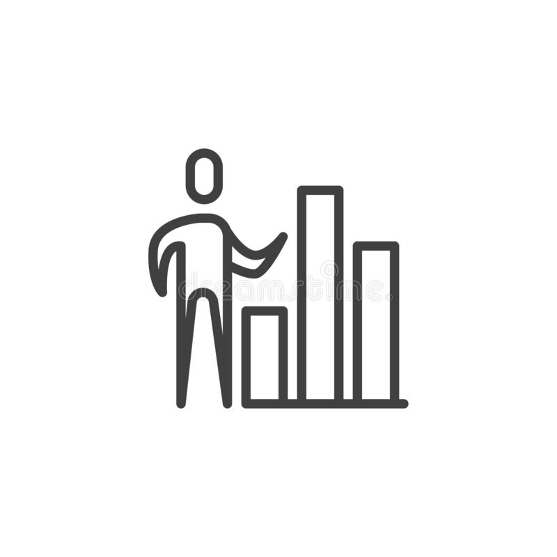De lijnpictogram van de bedrijfsgrafiekpresentatie royalty-vrije illustratie
