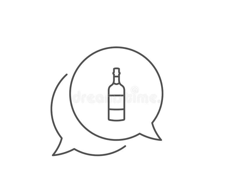 De lijnpictogram van de brandewijnfles Het teken van de whiskyalcohol Vector vector illustratie