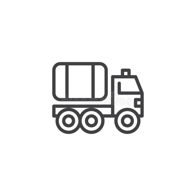 De lijnpictogram van de brandvrachtwagen stock illustratie