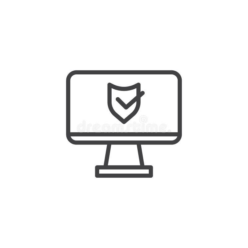 de lijnpictogram van de bureaucomputerbescherming vector illustratie