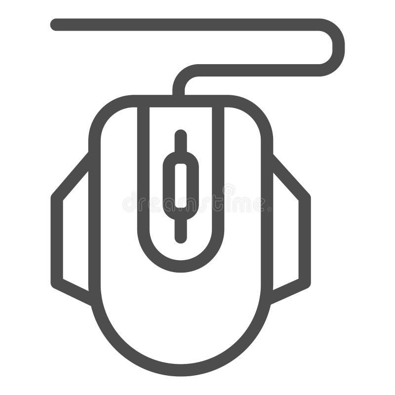De lijnpictogram van de computermuis Klik vectordieillustratie op wit wordt geïsoleerd De stijlontwerp van het apparatenoverzicht stock illustratie
