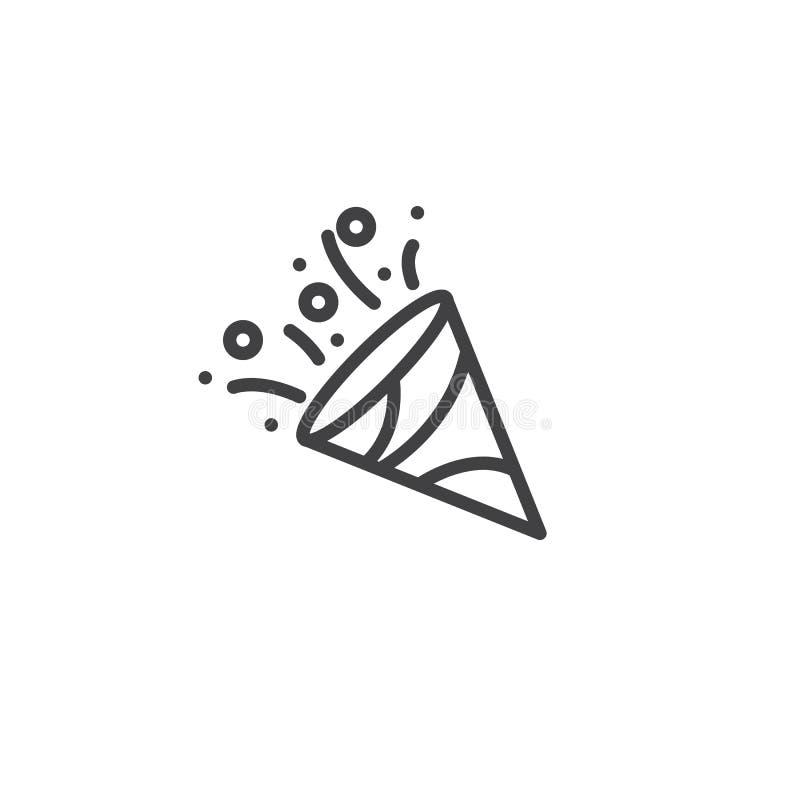 De lijnpictogram van de confettienpopcornpan vector illustratie