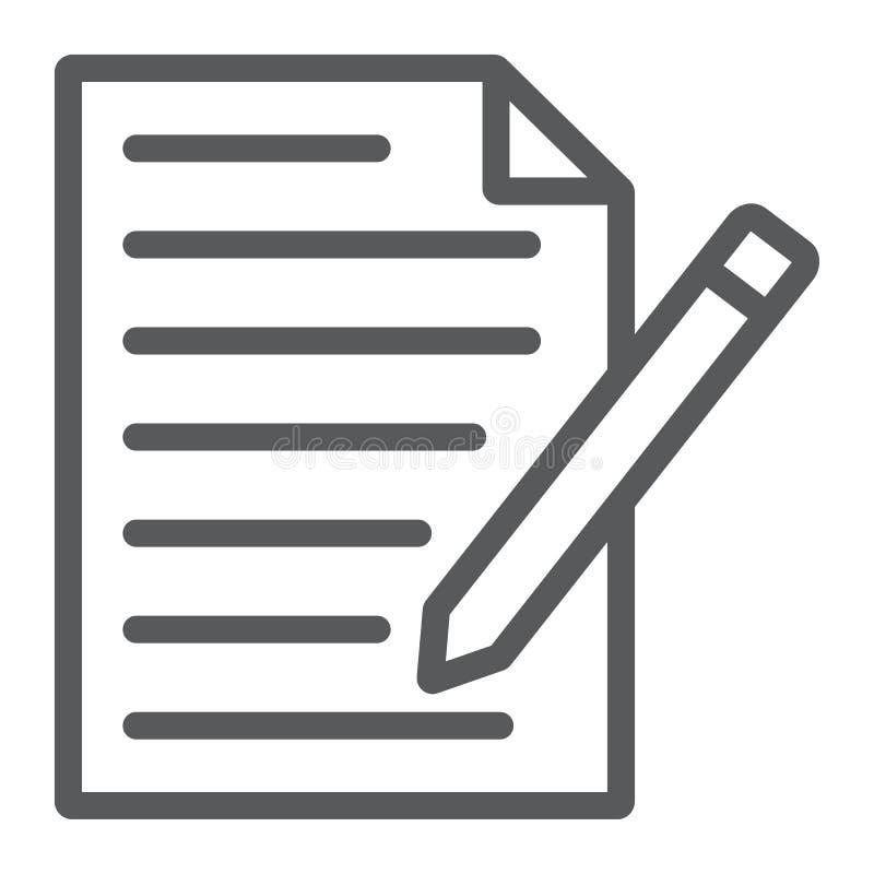 De lijnpictogram van de contactvorm, document en pen, leeg teken vector illustratie