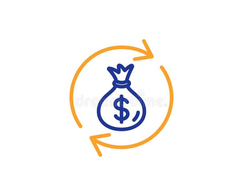 De lijnpictogram van de contant gelduitwisseling De zak van het dollargeld Vector royalty-vrije illustratie