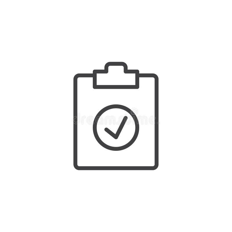 De lijnpictogram van de controletest royalty-vrije illustratie