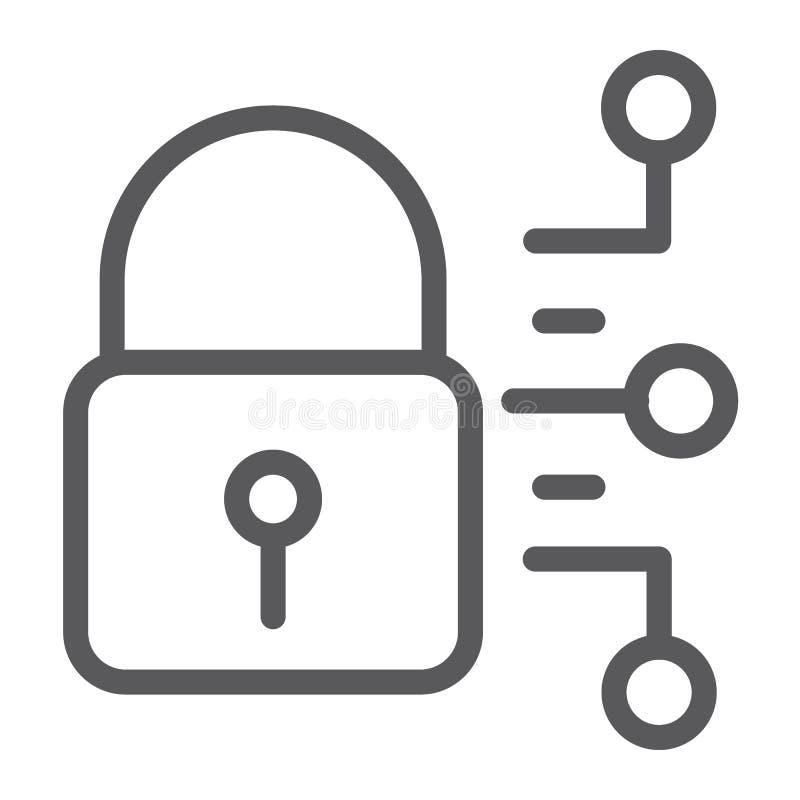 De lijnpictogram van de Cyberveiligheid, bescherming en veiligheid, digitaal hangslotteken, vectorgrafiek, een lineair patroon stock illustratie
