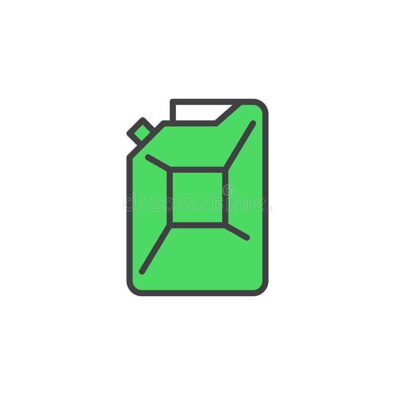 De lijnpictogram van de benzinejerrycan, gevuld overzichts vectorteken, lineair kleurrijk pictogram dat op wit wordt geïsoleerd vector illustratie