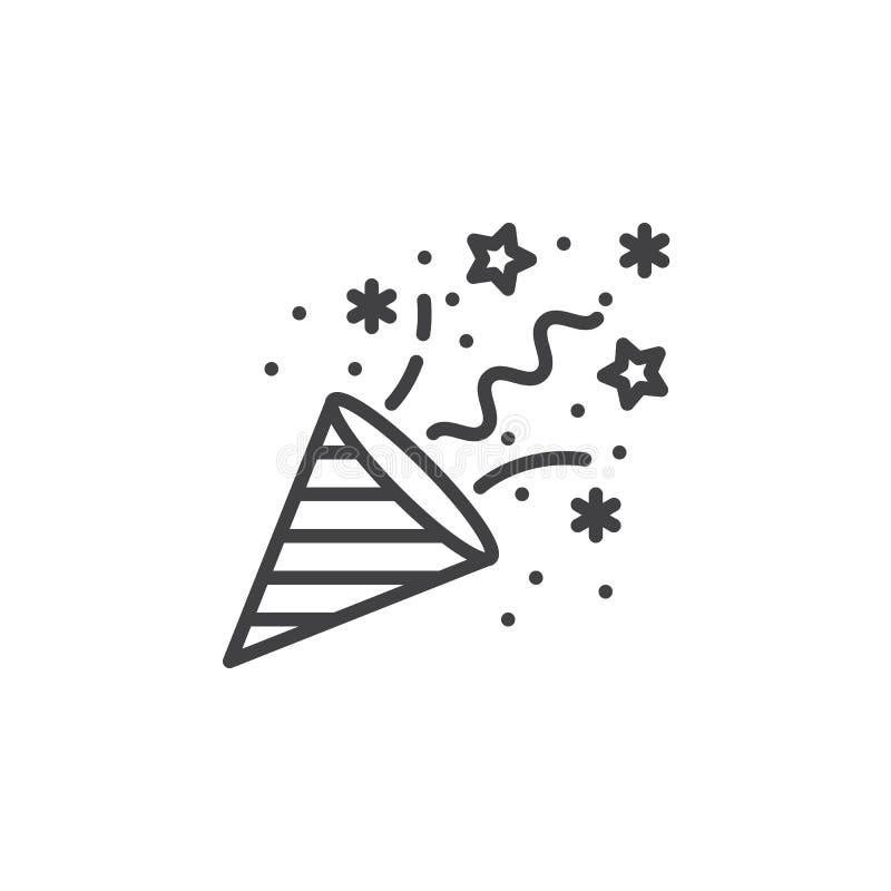 De lijnpictogram van de confettienpopcornpan, overzichts vectorteken, lineair pictogram royalty-vrije illustratie