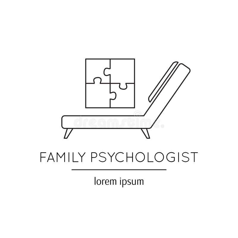 De lijnpictogram van de familiepsycholoog vector illustratie