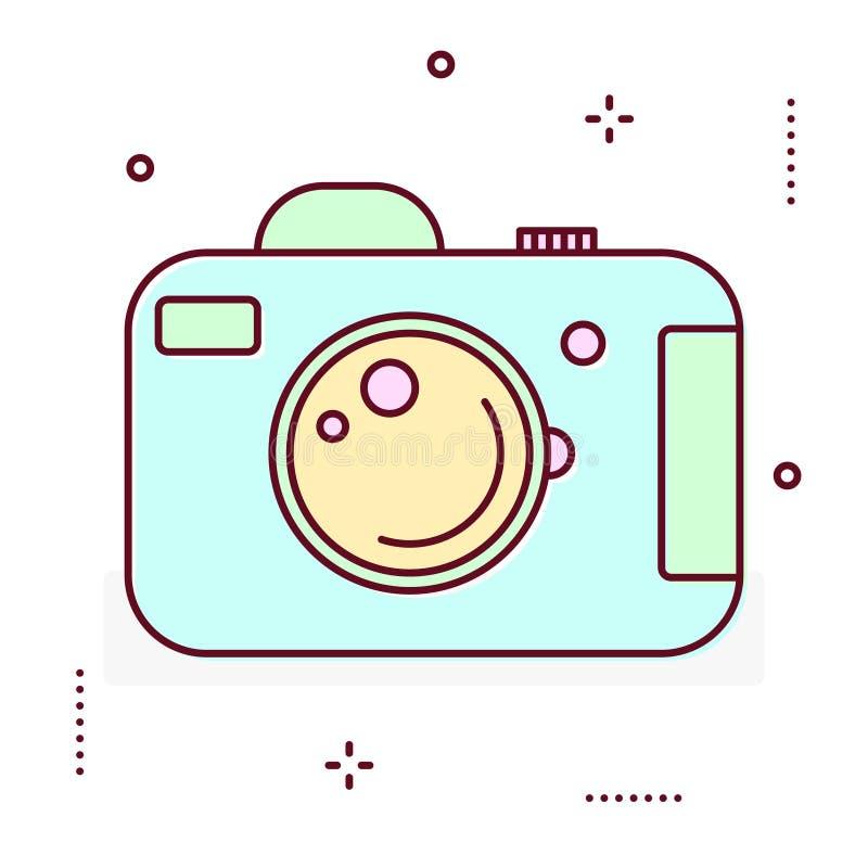 De lijnpictogram van de foto digitaal camera stock illustratie