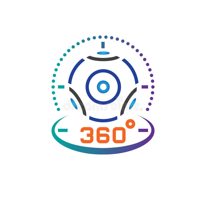 de lijnpictogram van de 360 graad panoramisch videocamera, de virtuele illustratie van het het overzichts vectorembleem van het w stock illustratie
