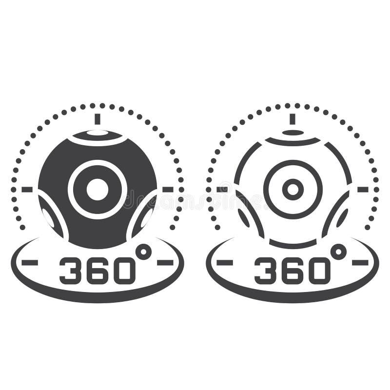 de lijnpictogram van de 360 graad panoramisch videocamera, overzicht en vast lichaam v vector illustratie