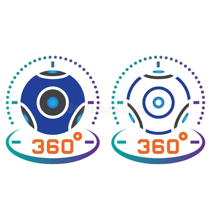 de lijnpictogram van de 360 graad panoramisch videocamera, overzicht en vast lichaam v stock illustratie