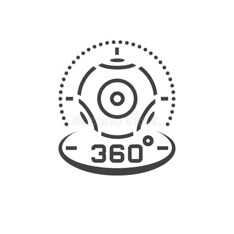 de lijnpictogram van de 360 graad panoramisch videocamera, virtuele werkelijkheid dev royalty-vrije illustratie