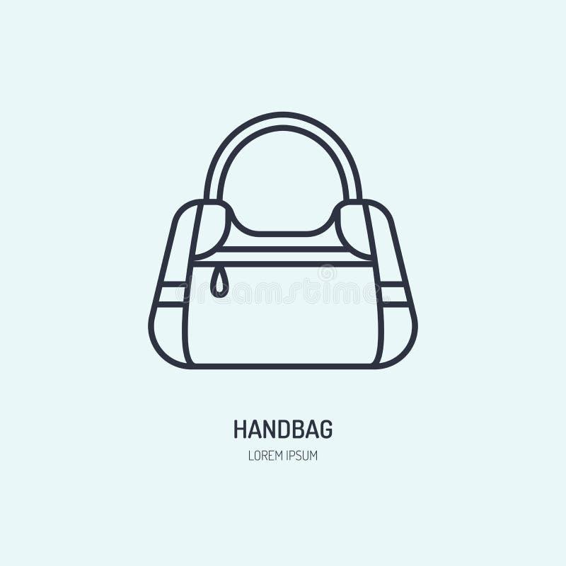 De lijnpictogram van de handtasreparatie, embleem Schoonmakend de dienst vlak teken van de leerzak, illustratie van vrouwentoebeh vector illustratie