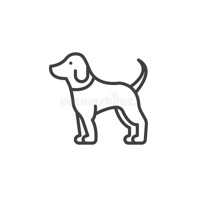 De lijnpictogram van de huisdierenhond, overzichts vectorteken stock illustratie