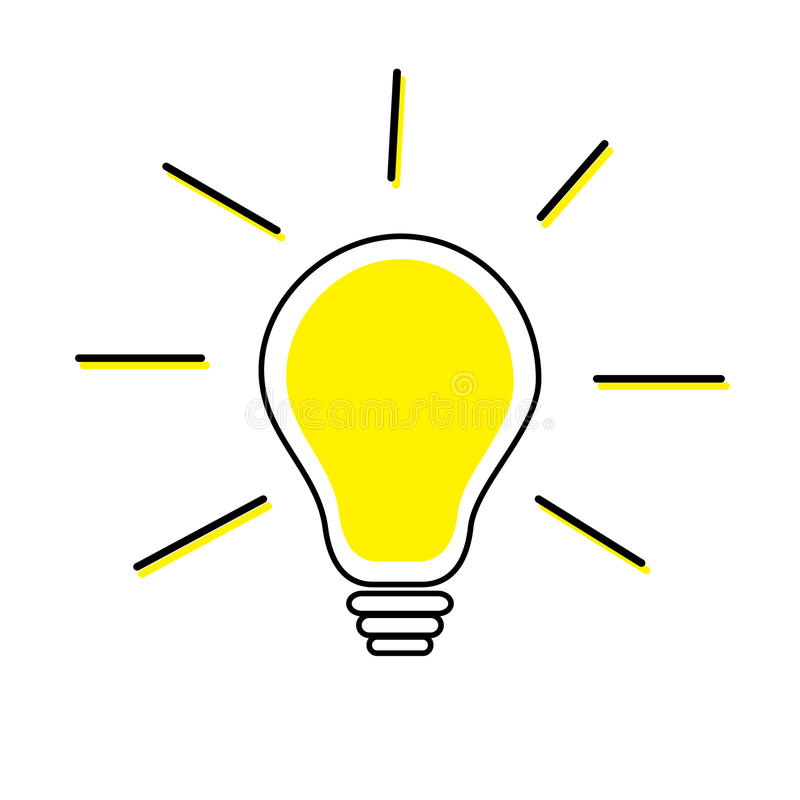 De lijnpictogram van de idee gloeilamp Het glanzen effect De gele kleur schakelt lamp in Bedrijfs succesconcept Vlak Ontwerp Witt royalty-vrije illustratie