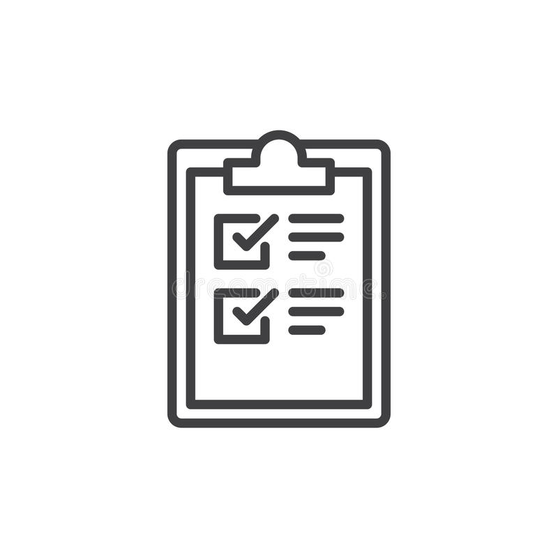 De lijnpictogram van de klembordcontrolelijst, overzichts vectorteken, lineair die stijlpictogram op wit wordt geïsoleerd stock illustratie