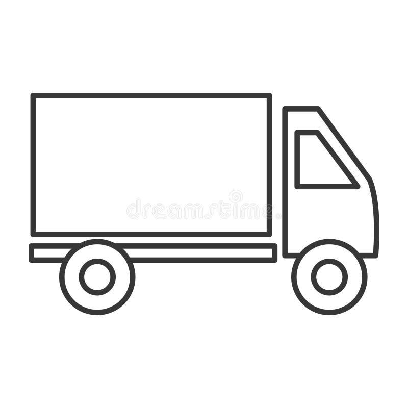 De lijnpictogram van de ladingsvrachtwagen, zwart-witte kleuren vector illustratie