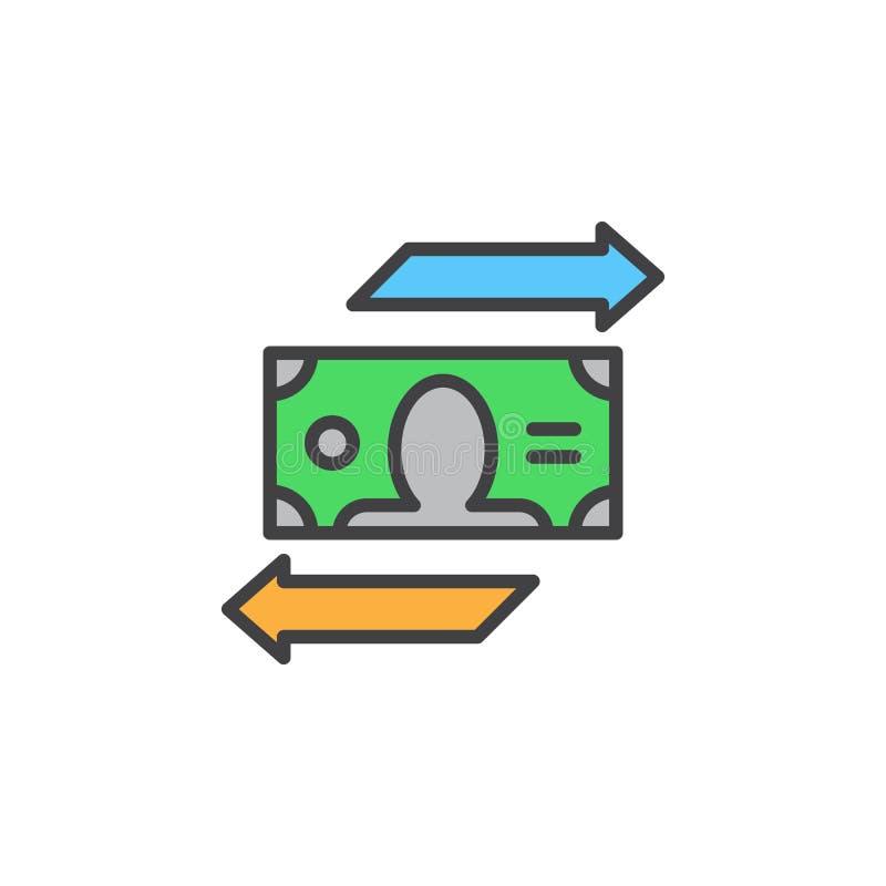 De lijnpictogram van de muntuitwisseling, gevuld overzichts vectorteken, lineair kleurrijk die pictogram op wit wordt geïsoleerd vector illustratie
