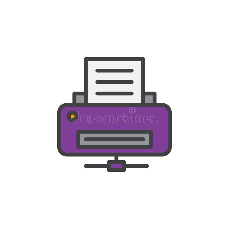 De lijnpictogram van de netwerkprinter, gevuld overzichts vectorteken, lineair kleurrijk die pictogram op wit wordt geïsoleerd royalty-vrije illustratie