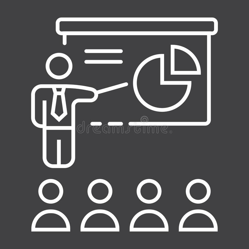 De lijnpictogram van de opleidingspresentatie, zaken stock illustratie