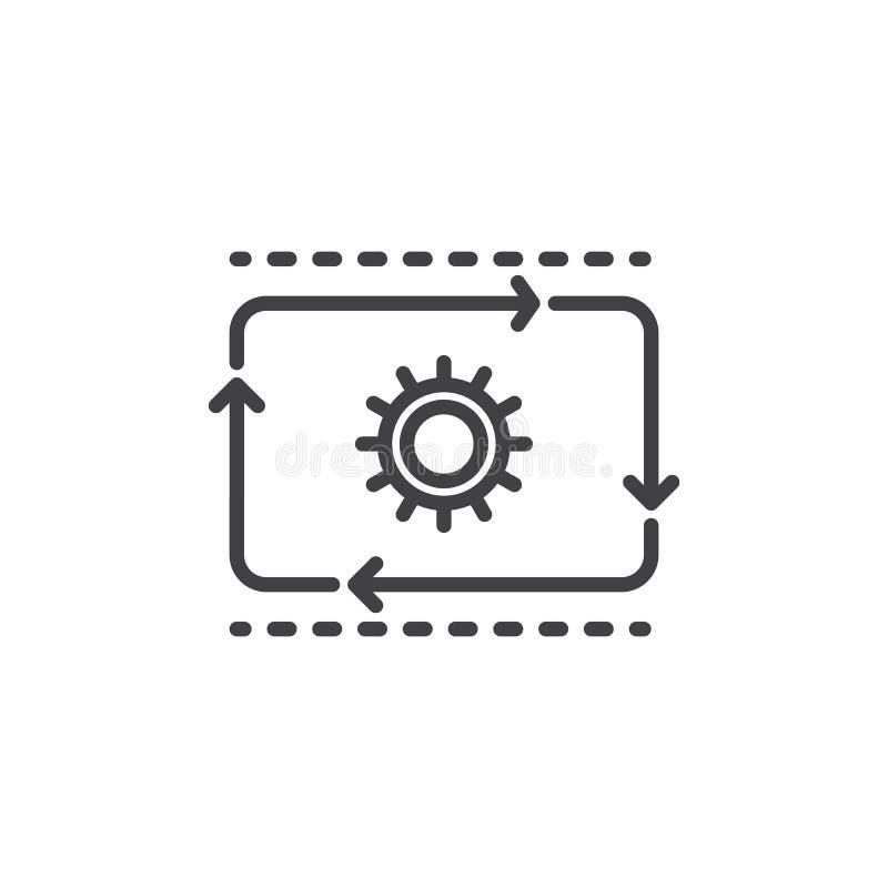 De lijnpictogram van de productiestroom, overzichts vectorteken, lineair die stijlpictogram op wit wordt geïsoleerd vector illustratie