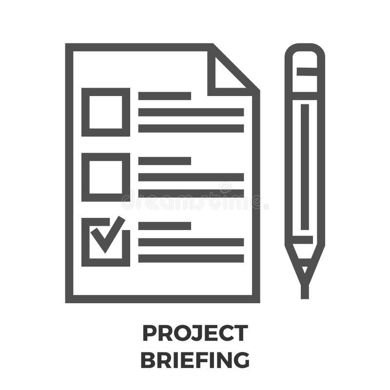 De Lijnpictogram van de projectbriefing stock illustratie