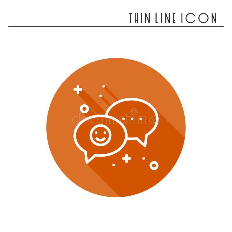 de lijnpictogram van de toespraakbel De vraag van het de dialoogbericht van het gesprekspraatje Dun lineair partij basiselement E vector illustratie
