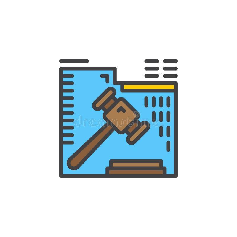 De lijnpictogram van de veilingshamer, gevuld overzichts vectorteken, lineair kleurrijk pictogram dat op wit wordt geïsoleerd stock illustratie