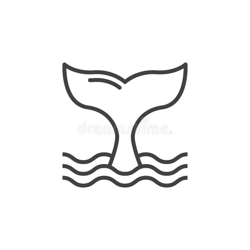 De lijnpictogram van de walvisstaart, overzichts vectorteken vector illustratie