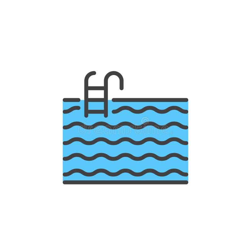De lijnpictogram van de waterpool, gevuld overzichts vectorteken, lineair kleurrijk die pictogram op wit wordt geïsoleerd vector illustratie
