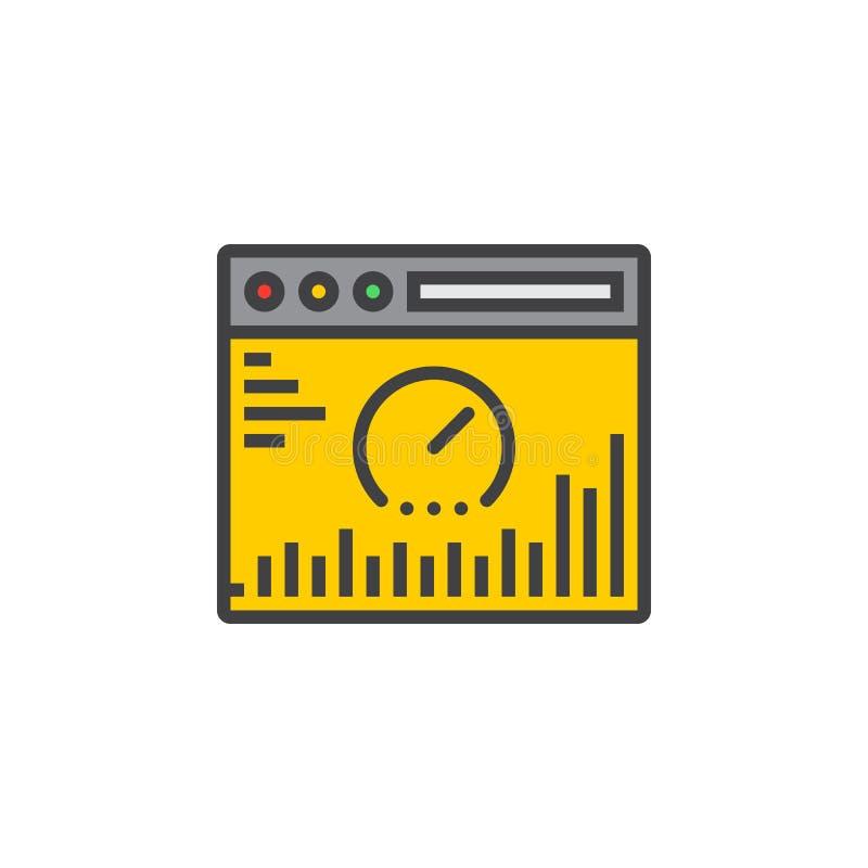 De lijnpictogram van de websiteanalyse, gevuld overzichts vectorteken, lineair c royalty-vrije illustratie
