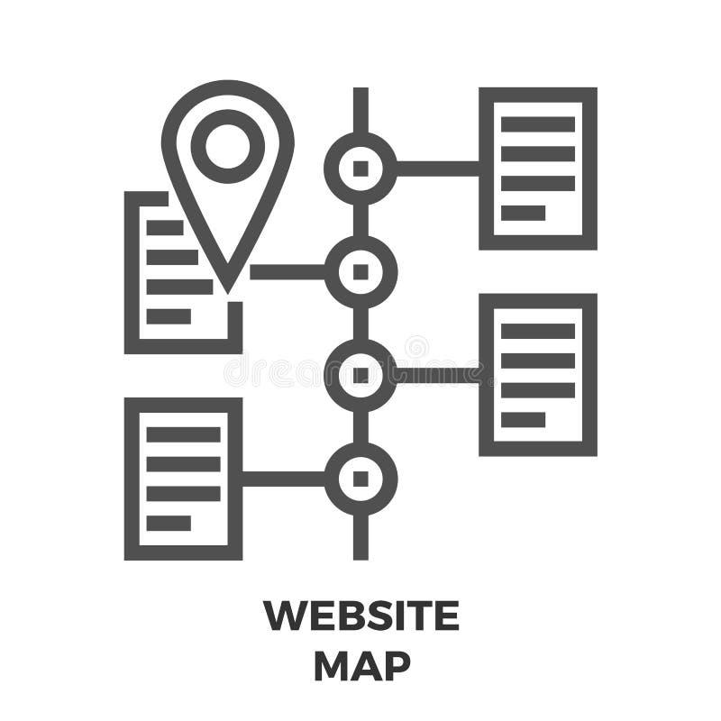 De Lijnpictogram van de websitekaart vector illustratie
