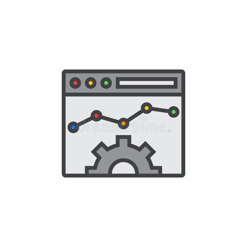 De lijnpictogram van de websiteoptimalisering, gevuld overzichts vectorteken, lijn vector illustratie