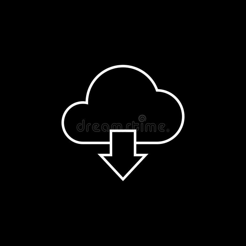 De lijnpictogram van de wolkendownload, vector illustratie