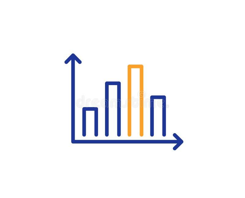 De lijnpictogram van de diagramgrafiek Het teken van de kolomgrafiek Vector royalty-vrije illustratie