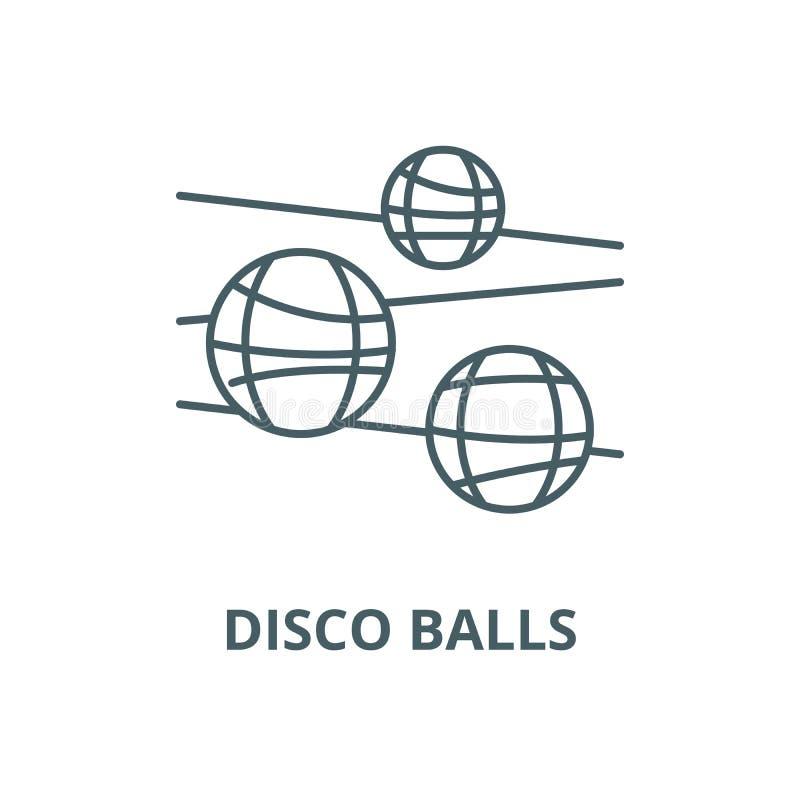 De lijnpictogram van discoballen, vector Het overzichtsteken van discoballen, conceptensymbool, vlakke illustratie stock illustratie