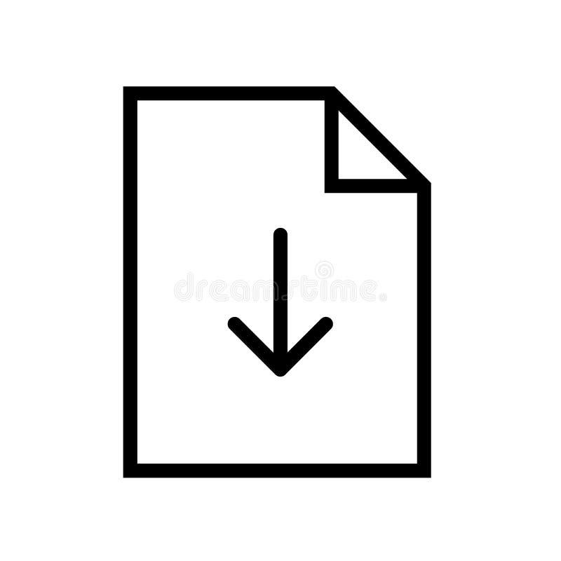 De lijnpictogram van de dossierdownload stock illustratie