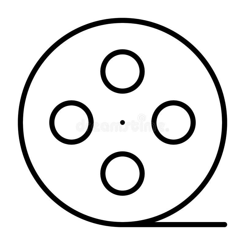 De lijnpictogram van de filmspoel Het symbool van de bioskoopproductie Vector illustratie royalty-vrije illustratie