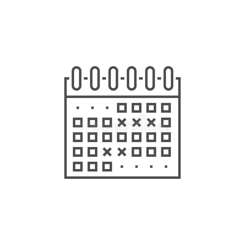 De Lijnpictogram van de gebeurtenissenkalender royalty-vrije illustratie